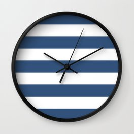 Metallic blue - solid color - white stripes pattern Wall Clock