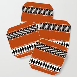 Bohemian orange, black&white tribal vibe Coaster