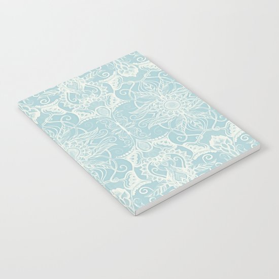 Floral Pattern in Duck Egg Blue & Cream Notebook