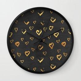 golden hearts Wall Clock
