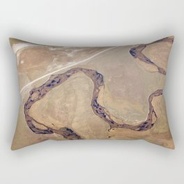 Aerial view, the land structure with road, river and field. Rectangular Pillow