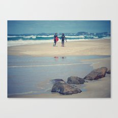 Surfers at Gold Coast beach Canvas Print