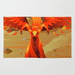 fire elemental fantasy winged creature on wastelands Rug