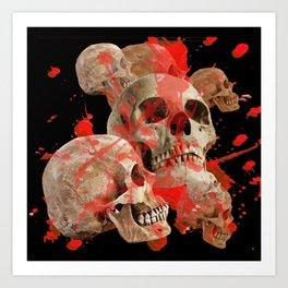 MACABRE BLOOD & SKULLS BLACK  ART Art Print