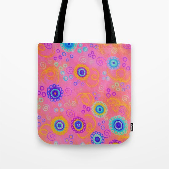 RASPBERRY FIZZ - Sweet Pink Fruity Candy Swirls Abstract Watercolor Painting Bright Feminine Art Tote Bag