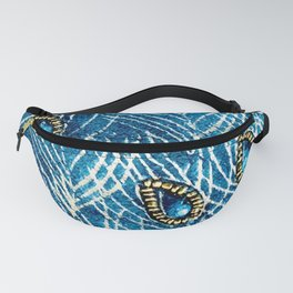Peacock Feathers in Luxurious Royal Blue Diamonds Fanny Pack
