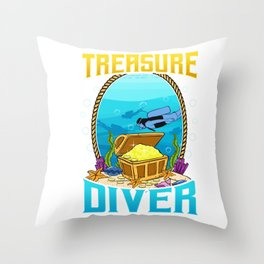 Awesome Scuba Diving Treasure Diver Throw Pillow