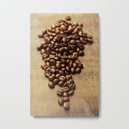 Coffee beans on wooden background Metal Print