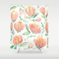 peonies Shower Curtains featuring peonies by Golden Girl Art