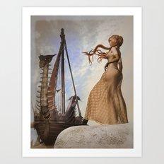Viking ship sailing Art Print