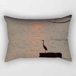 Sunset with Heron Rectangular Pillow