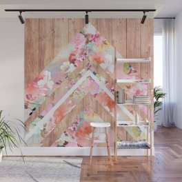 Vintage floral watercolor rustic brown wood geometric triangles Wall Mural