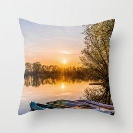 Sunset an Lake Throw Pillow