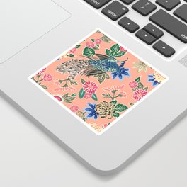 Peacock Floral in Coral Sticker