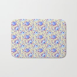 Blue pink vintage yellow hand painted floral Bath Mat