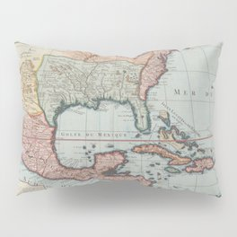 Vintage Map of The Gulf of Mexico (1732) Pillow Sham
