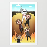 cyrilliart Art Prints featuring Drag Me Down To Hell by Cyrilliart