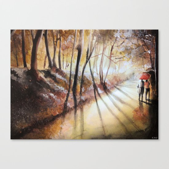 Break in the clouds - watercolor Canvas Print