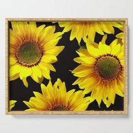 Large Sunflowers on a black background #decor #society6 #buyart Serving Tray