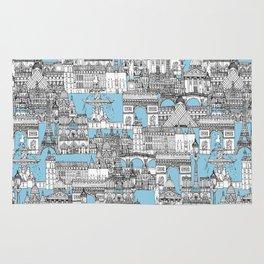 Paris toile cornflower blue Rug
