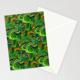 Peacock Neck Gator Green Retro Peacock Feathers Stationery Cards
