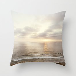 Neutral Sunset Pacific Ocean Photography, Brown Grey Seascape, California Coast Sea Landscape Throw Pillow