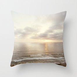 Neutral Sunset Pacific Ocean Photography, Brown Grey Seascape, California Coast Sea Landscape Throw Pillow