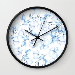 Hand painted pastel blue lavender watercolor floral Wall Clock