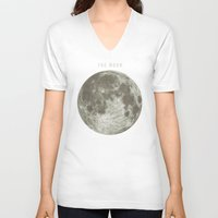 astronomy V-neck T-shirts featuring The Moon  by Terry Fan