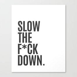 Slow the F Down Canvas Print