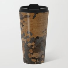 Modern Woodgrain Camouflage / Flecktarn Print Metal Travel Mug