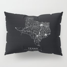 Texas State Road Map Pillow Sham