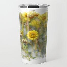 Sunshine Yellow Brittle Bush in Digital Watercolor Travel Mug