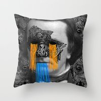 stephen king Throw Pillows featuring Stephen by DIVIDUS