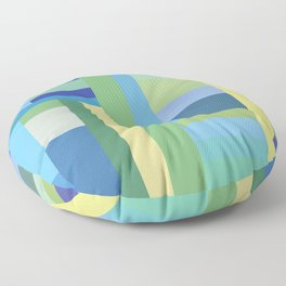 Abstract Blue Mint Green Geometry Floor Pillow