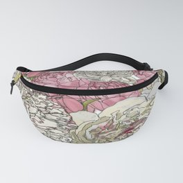 Watercolor Peonies in White and Pink Design Fanny Pack