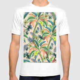 Palm Life, tropical palm leaves, Hollywood Regency, green, orange T-shirt