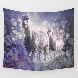 Blue Wild Horses Mixed Media Art Wall Tapestry