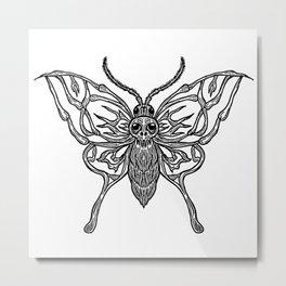 Skeleton Moth Metal Print