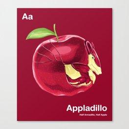 Aa - Appladillo // Half Armadillo, Half Apple Canvas Print