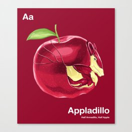 Aa - Appladillo // Half Armadillo, Half Apple Canvas Print
