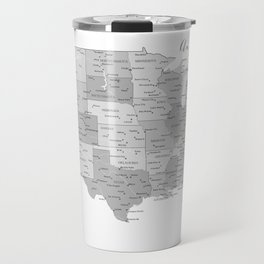 Anywhere with you, USA map in grayscale Travel Mug