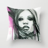 downton abbey Throw Pillows featuring Watercolour Fashion Illustration Portrait Abbey Lee by Elise Reid