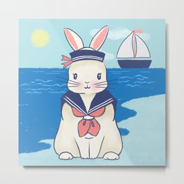 Sailor Bunny At The Beach Metal Print