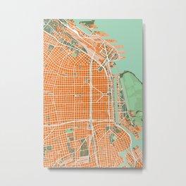 Buenos Aires city map orange Metal Print