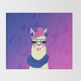 Cool Llama Girl Throw Blanket