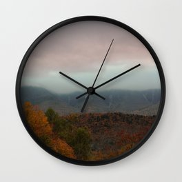 Fog Rolling Over The Hills Wall Clock