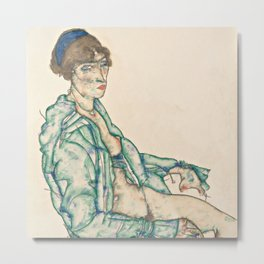 "Egon Schiele ""Sitting Semi-Nude with Blue Hairband"" Metal Print"