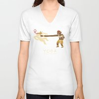 yoga V-neck T-shirts featuring yoga. by Louis Roskosch