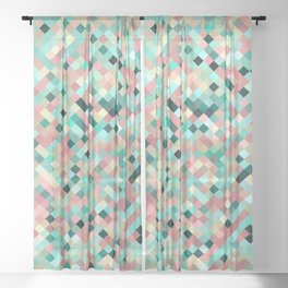 candace - mint green and petal pink mosaic  design Sheer Curtain